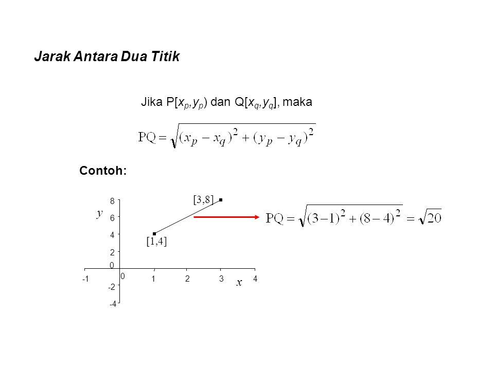 Jarak Antara Dua Titik Jika P[xp,yp) dan Q[xq,yq], maka Contoh: y x